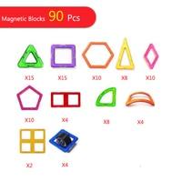 90pcs Big Size Magnetic Blocks Designer DIY Building & Construction Toy Magnetic Tiles Square Triangle Educational Toys For Kids