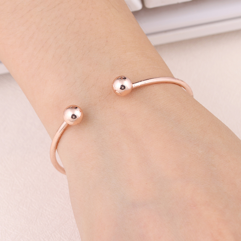 ns84 New Design Gold Sliver Opening Bracelet with Double Round Setting DIY Beads Famous Bracelet Cuff