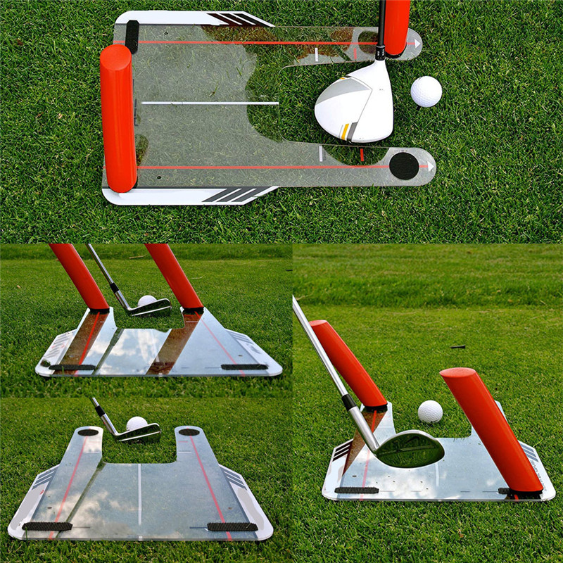 4 Red Speed Rods Coach Mirror Golf Speed Trap Base Golf Swing Trainer Shape Brandish Swing Practice Mirror And Bag