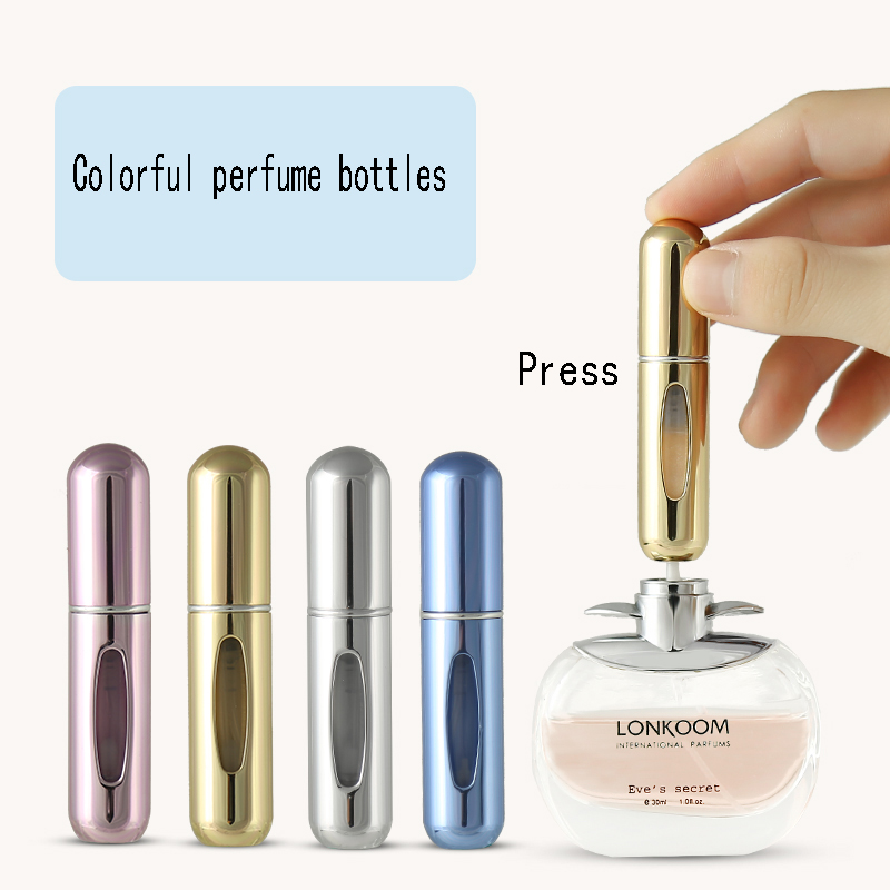 5ml Portable Mini Refillable Spray Perfume Bottle Aluminum Atomizer Spray Bottle Travel Container Perfume Bottle