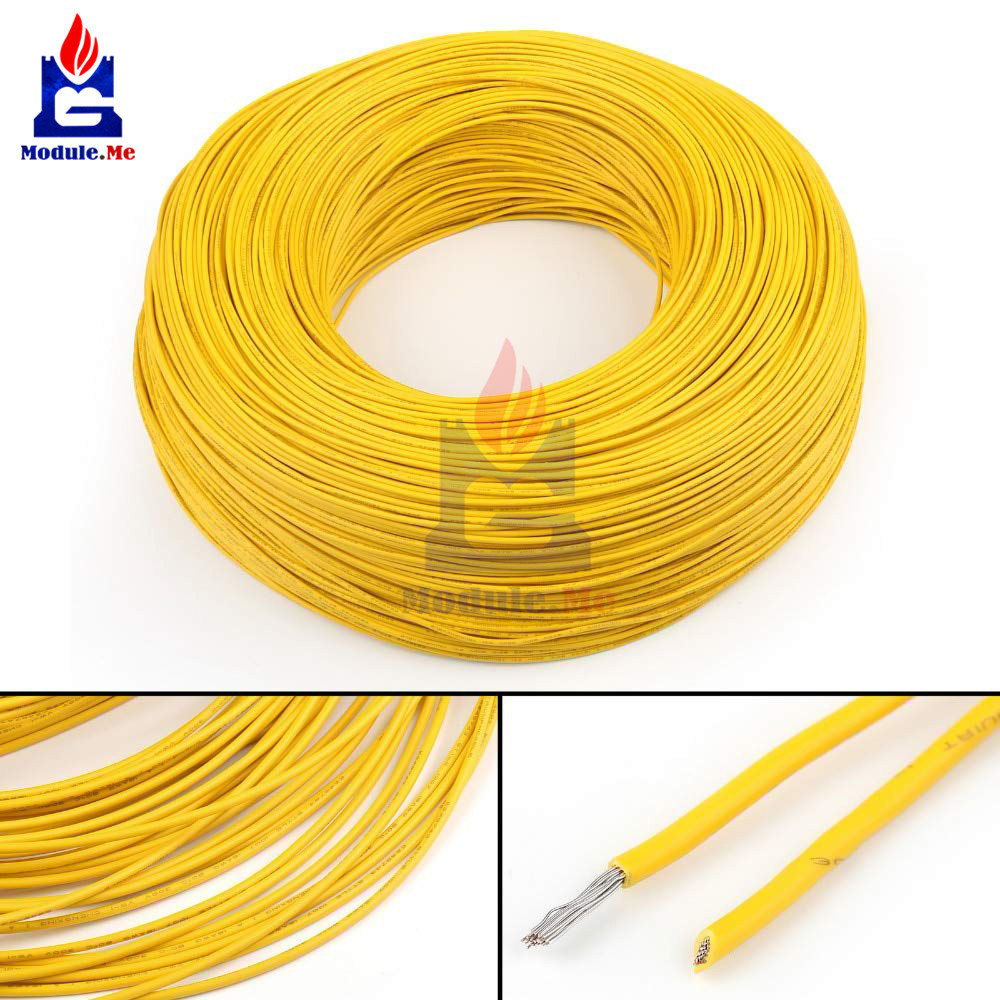 Flexible Stranded UL-1007 24 AWG Electronic Wire PVC Cable Yellow 10M 300V Wire Cable