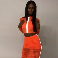 OMILKA Reflective Striped Crop Top and Skirt Set 2019 Summer Women Long Sleeve O Neck Orange Mesh Club 2 Piece Tracksuit Set