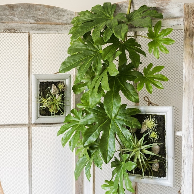 Hanging Star Anise Leaf Plant Artificial Green Leaves Wall Home Decor Balcony Basket Large Flower