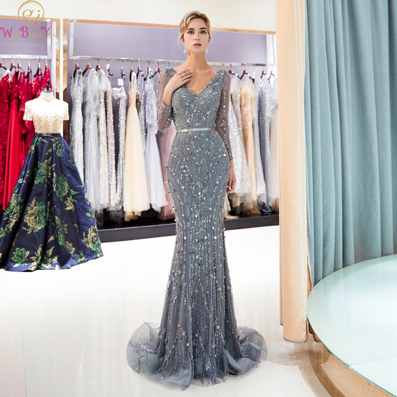 Gray Mermaid Beads Lace Evening Dresses 2019 V-Neck Sequins Party Gowns Three Quarter Sleeves Luxury Beading Formal Party Dress