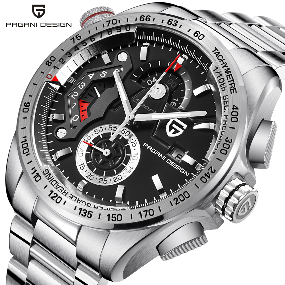 PAGANI DESIGN Full Stainless Steel Chronograph Sport Watches Men Luxury Brand Quartz Watch Dive 30M relogio masculino dropship skmei 9069 men quartz watch men full steel wristwatches dive 30m fashion sport watch relogio masculino 2016 luxury brand watches