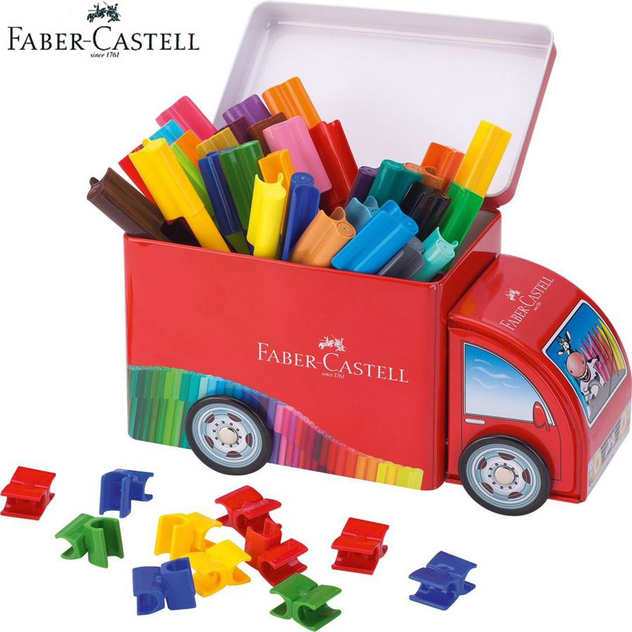 Faber Castell Fibre-tip Watercolor Pen 33 Colors Connector Truck Art Marker Ideal for Adult Kids Coloring Books,Manga,Comic,Gift faber castell 30 colors cute creative colorful crayons connector watercolor gel pen for drawing art stationery supplies
