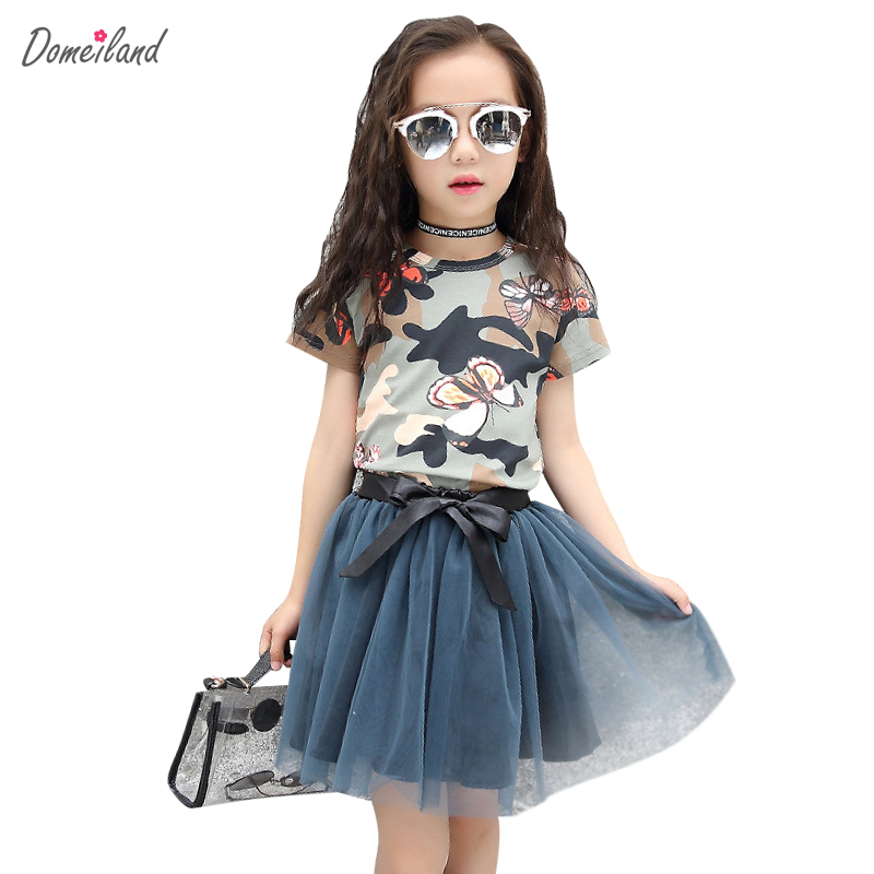 2017 fashion domeiland children clothing sets kids girl outfits short sleeve camo cotton shirts tutu bow skirt suits clothes 25mm x 25mm brushless cooling fan for esc motor black