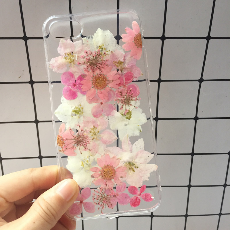 2018 New For iphone X Case Beautiful Real Pressed Flower Phone Case For iPhone 6 6S Plus 7 8 Floral Transparent Clear Phone Case (14)