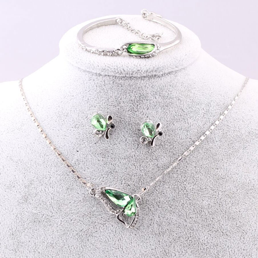 Sales New Butterfly Jewelry Sets Necklace + Earring+bracelet Crystal Set Fashion Jewelry #6