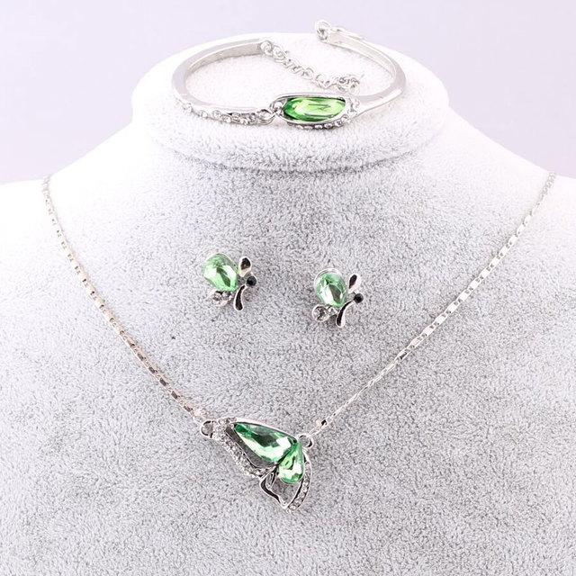 Sales 2018 New Butterfly Jewelry Sets Necklace + Earring+Bracelet Crystal Set Fashion Jewelry 5