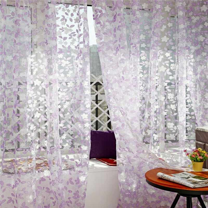 ISHOWTIENDA Leaf Sheer Voile Super Leaves Printed Tulle Window Curtain Panel Treatment Voile Drape Valance 1 Panel Fabric#Y40