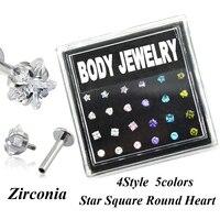 24pcs Box Set Internally Thread Zirconia Crystal Labret Lip Ring Piercing Body Jewelry Ear Helix Tragus