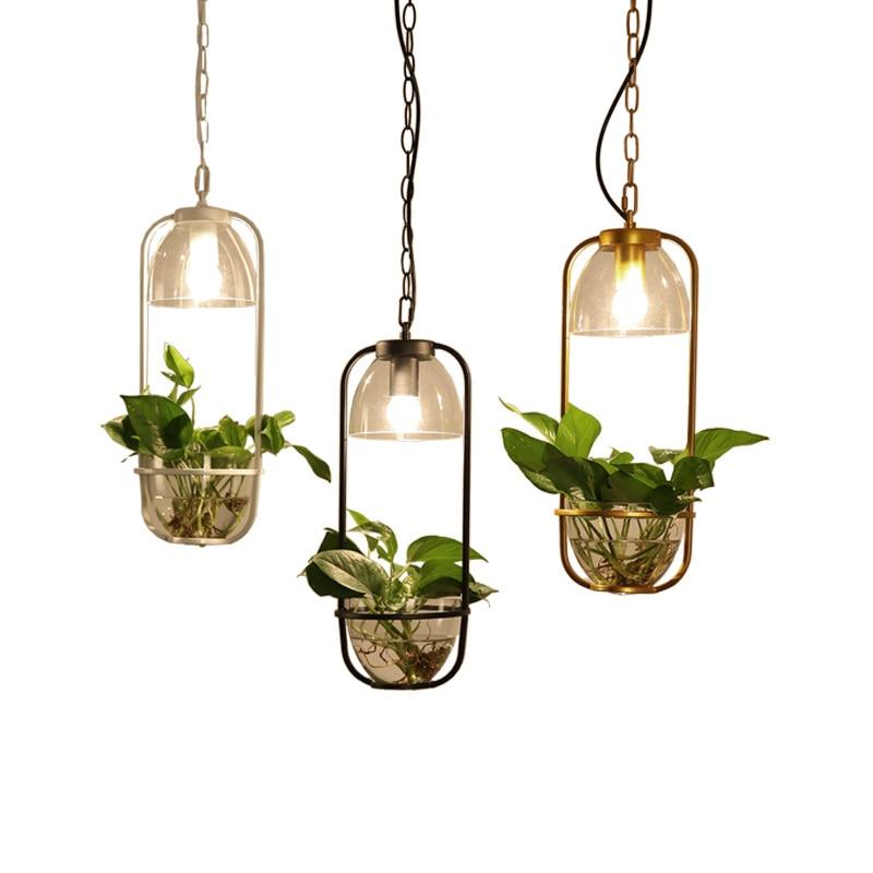 Scandinavian garden plant chandelier restaurant bar iron glass personalized shop balcony water culture Chandelier