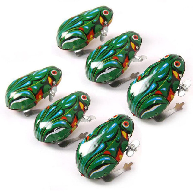 Vintage Toy Clockwork-Toys Jumping Frog Classic Wind-Up Educational Kids Tin For Children