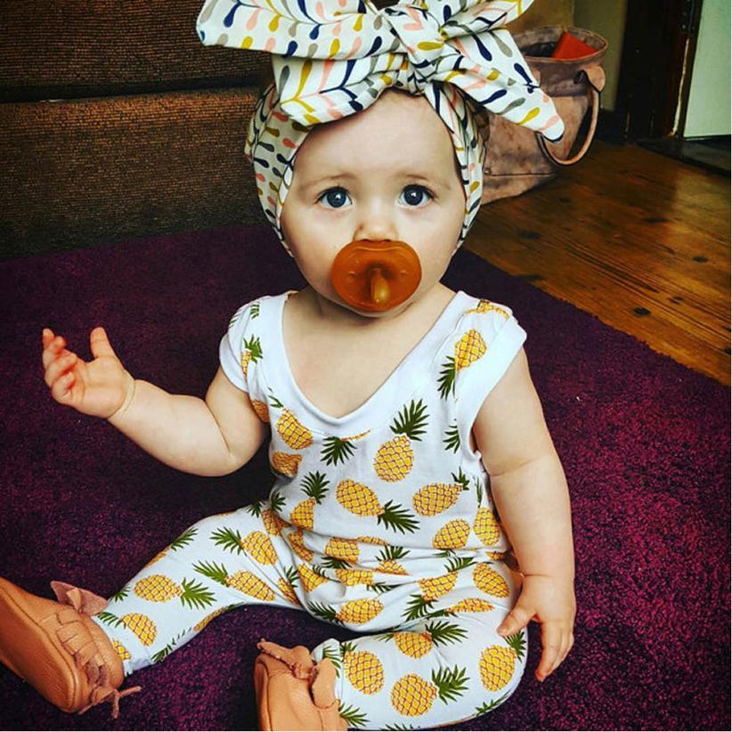 Summer Pineapple Baby Girl Romperheadband 2Pcs Newborn -9352