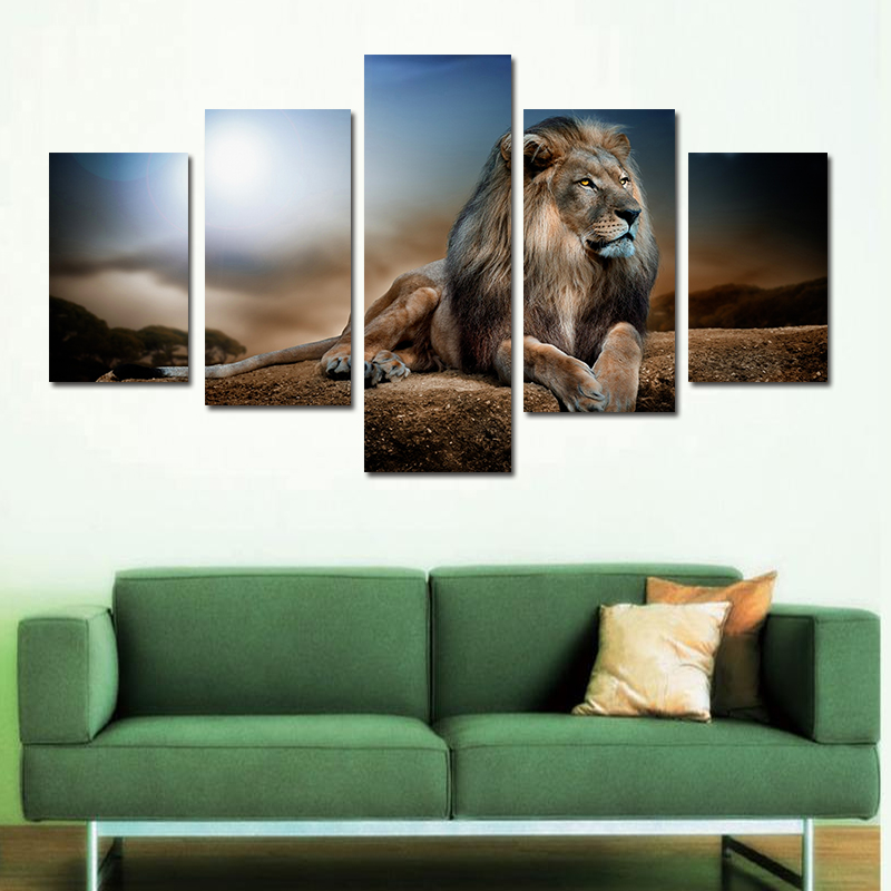 Oil Painting Recumbent Lion Huge Wall Decor Moder Art On Canvas