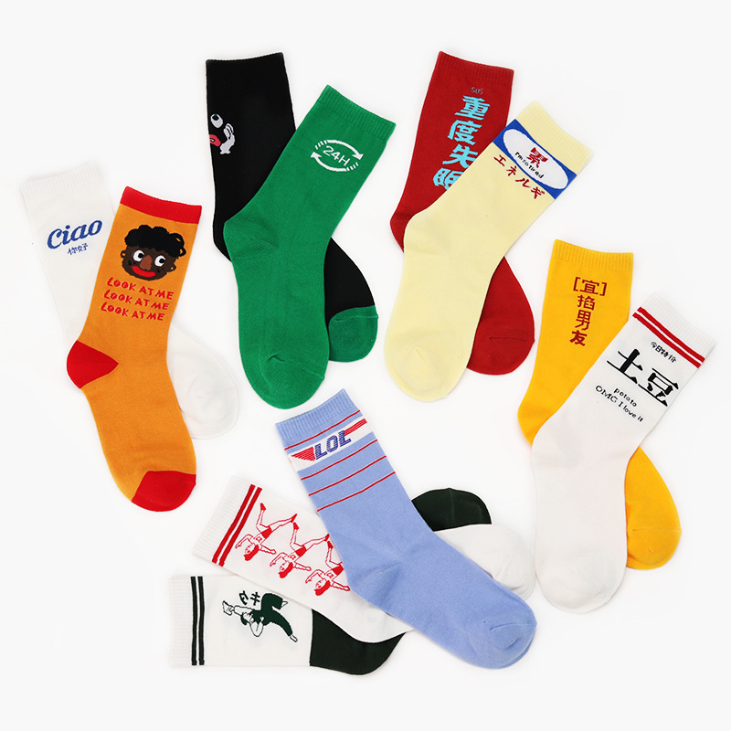 New Arrival Fashion Harajuku Women Hipster Skateboard Socks Harajuku Funny Patterned Cool Skate Cotton High Quality Sock Funny