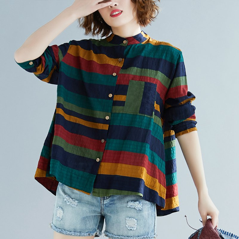 Women Multicolor Striped Shirt Casual Long Sleeve Button Blouse Plus Size Casual Women spring Summer Elegant Cotton Top 1