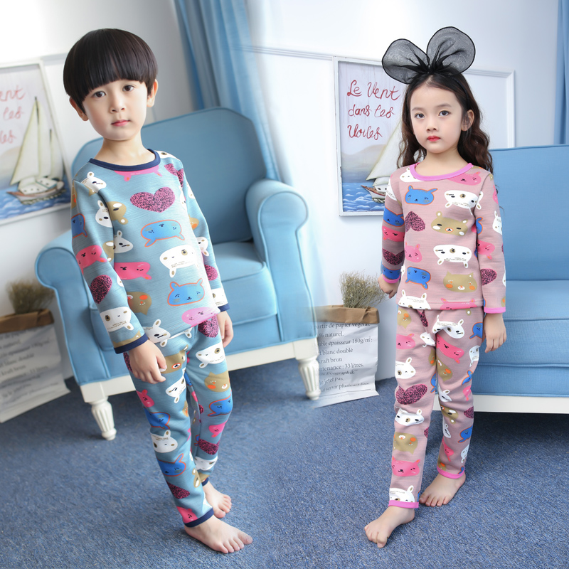winter autumn 1-9 years old children clothing kids thermal underwear sets girls print tops + pants 2 piece child set baby sets