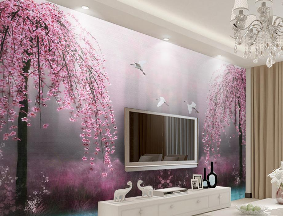 living room wall murals customize wallpaper for walls 3 d stereoscopic pink swan 12706