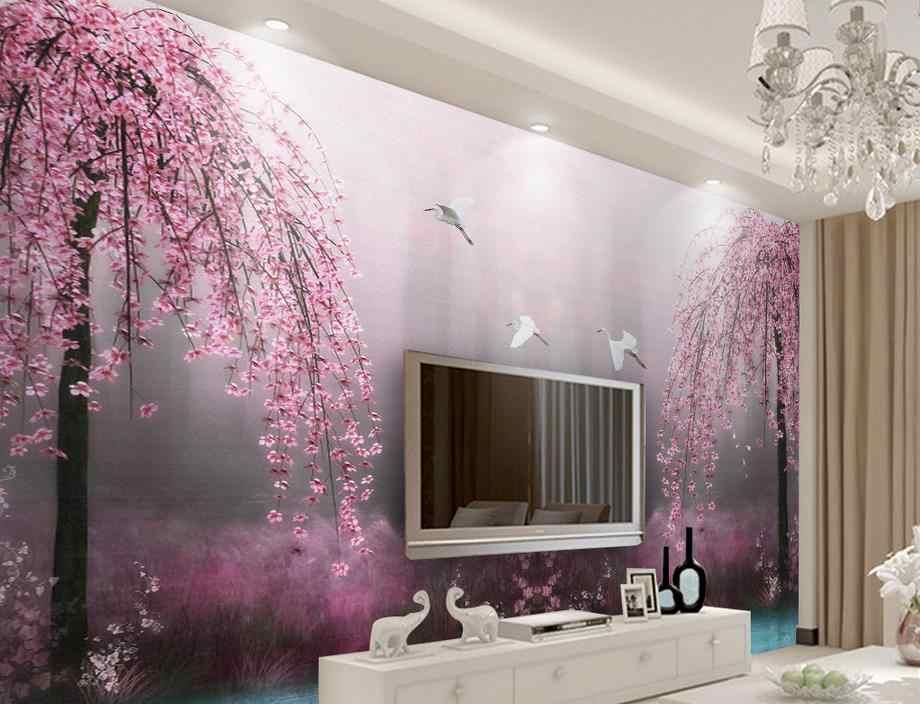 Customize Wallpaper For Walls 3 D Stereoscopic Pink Swan Lake Wall Mural Wallpaper Photo Wall Murals Wallpapers For The Kitchen Custom Wallpaper Mural Wallpaperwall Mural Wallpaper Aliexpress