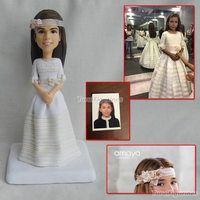 ooak custom clay figurines custom clay girl bride dollhouse dolls wedding cake topper decor miniature sculpture art work