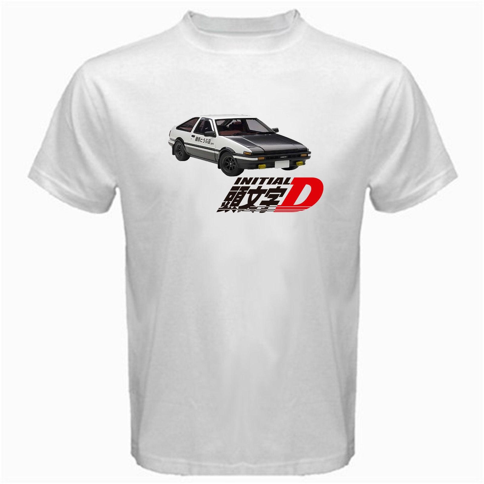 Desain t shirt racing - Awal D Ae86 Trueno Takumi Anime Jepang Drift Racinger Fujiwara Tshirt Putih China Mainland