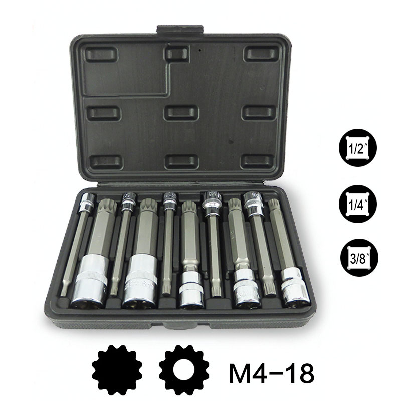 10Pcs 4-Inch Extra Long XZN Triple Square Spline Bit Socket Set, S2 Steel Bits,Chrome Vanadium Sockets milwaukee 48 20 4345 3 4 spline bit with 27 long