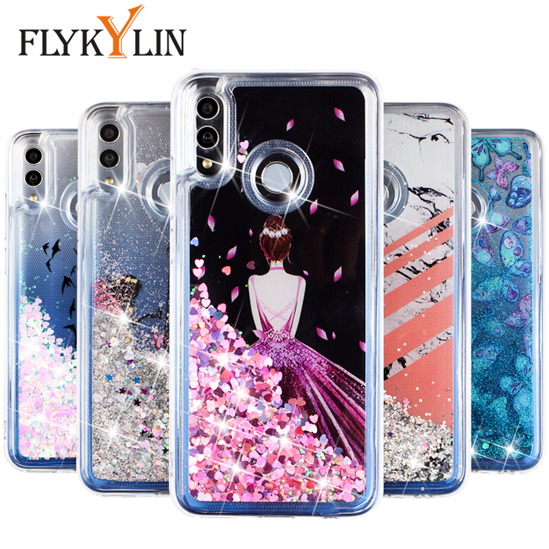 FLYKYLIN Honor 8A <font><b>Case</b></font> For <font><b>Huawei</b></font> <font><b>Y7</b></font> <font><b>2019</b></font> Y6 Prime <font><b>2019</b></font> Back Cover on <font><b>Glitter</b></font> Bling Dynamic Liquid Soft Silicon Phone Coque Capa image
