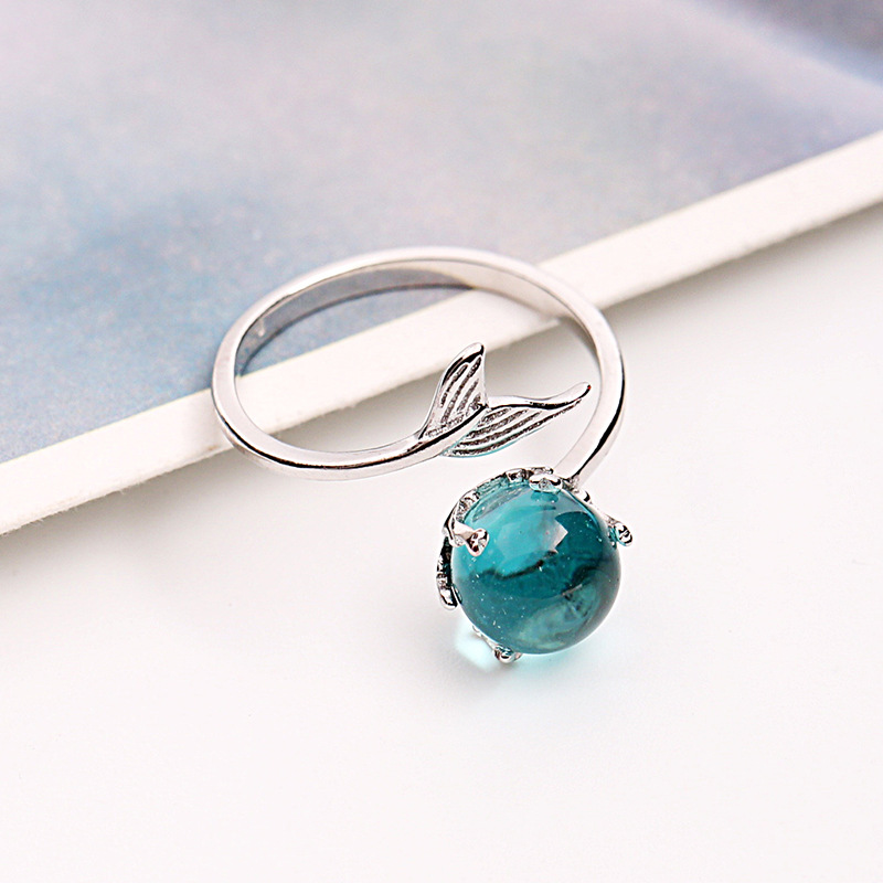 925 Sterling Silver Open Blue Crystal Mermaid Bubble Rings for Women Girls Gift Statement Jewelry Adjustable Size Finger Ring недорого