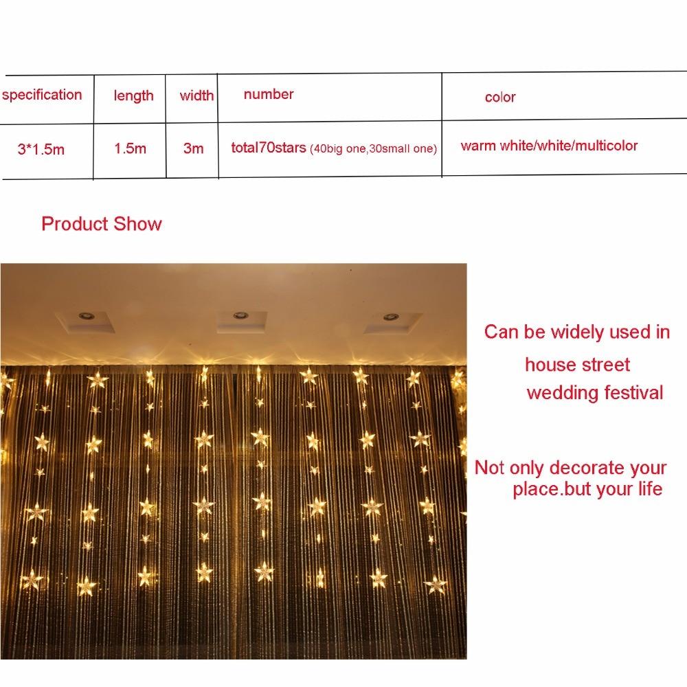 3*1.5m 78leds Holiday lights Star Curtain Led Light string Multicolor AC Plug Xmas christmas wedding fairy Festival decor DA - 4