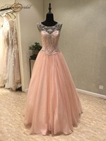 New Fashion Long Prom Dresses 2018 Scoop Lace Up Back A Line Beaded Chiffon Evening Dresses