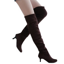 Stretch suede round head Block Middle Heels over the knee boots Solid color fashion is thin Knee boots winter boots women 2019(China)
