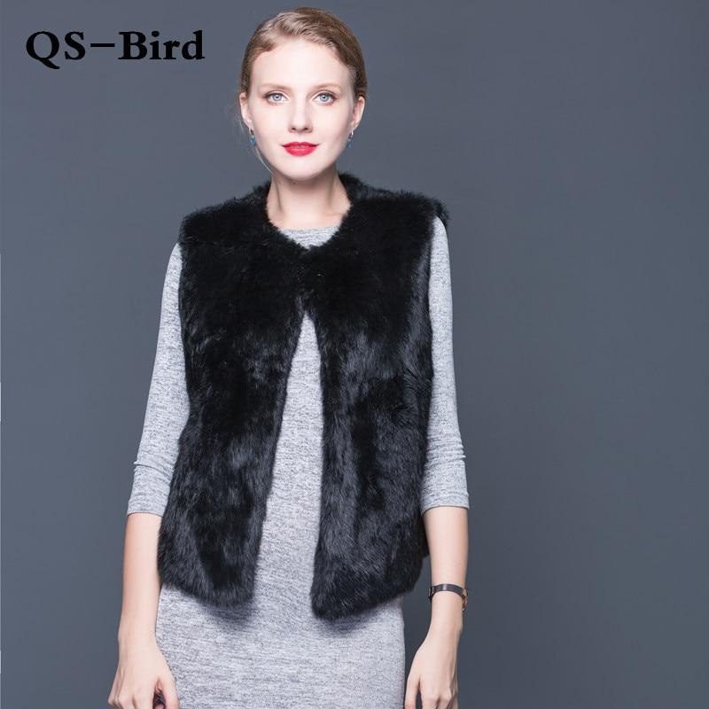 Sexy Fur Vest Ladies  The Whole  Rabbit Fur Vest Ladies Leather Fur Coat Winter Fall Sale Fur  Coat Fashion Jacket High Quality