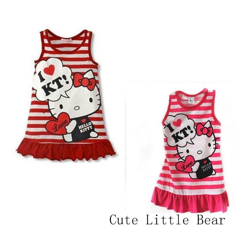New Arrival baby girl dress Hell kitty cartoon KT dress Stripe tutu elsa dress Soft Beautiful