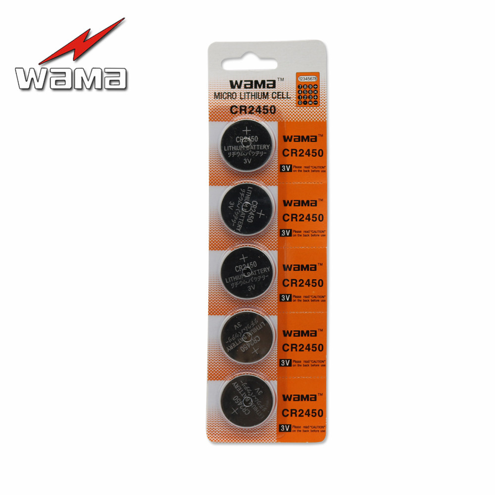 5x Wama CR2450 Lithium 3V Button Cell Coin <font><b>Battery</b></font> DL2450 <font><b>CR2450N</b></font> ECR2450 Car Remote Alkaline Cells <font><b>Battery</b></font> For Watch image