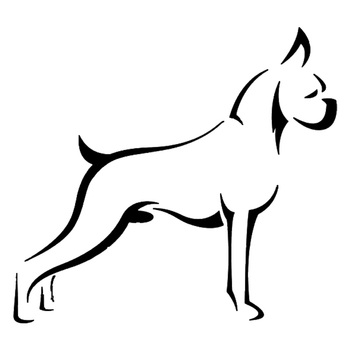 15.7*14.4CM Boxer Dog Car Stickers Durable Vinyl Decal Car Styling Bumper Accessories Black/Silver S1-0831 image