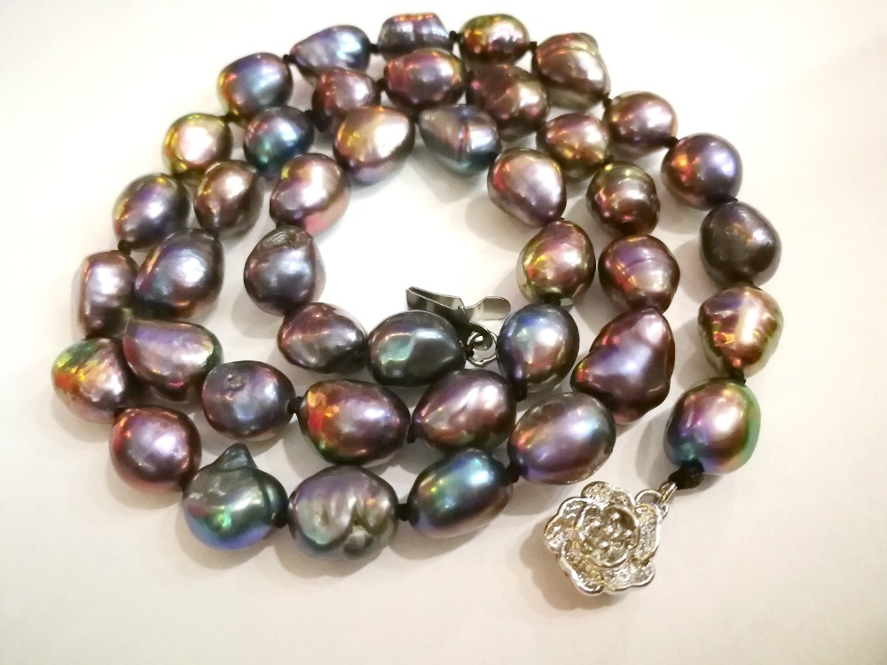 15x20MM natural Purple Nucleated Flameball Baroque Pearl Necklace AAA