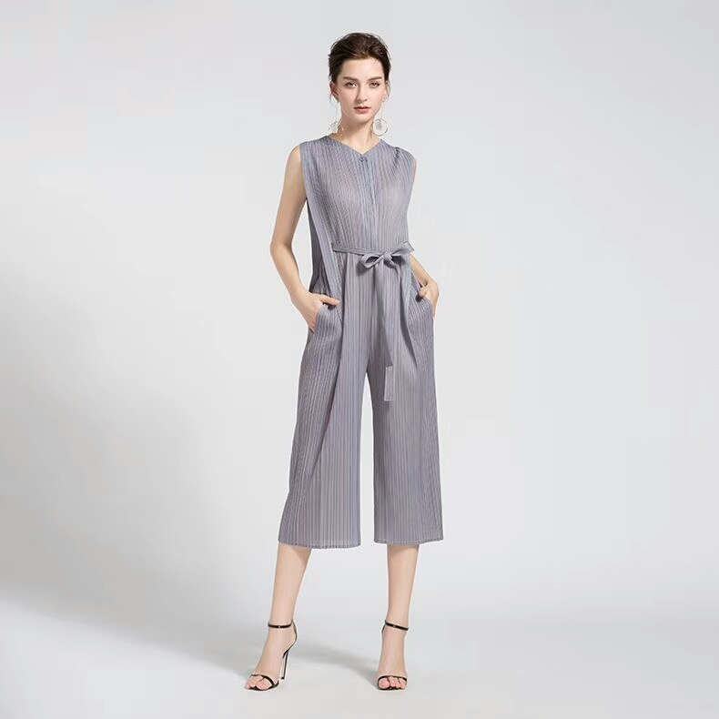 FREE SHIPPING Miyake fashion fold v-neck belt pants jumpsuits SASHES PLAYSUITS IN STOCK 5