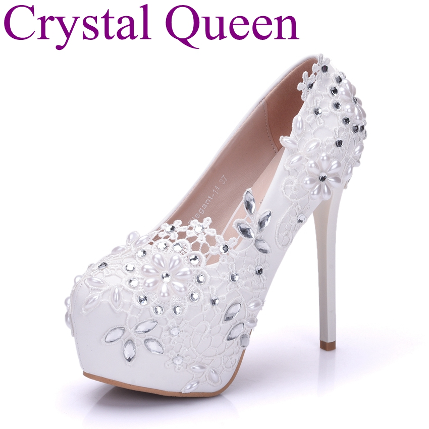 Crystal Queen Fashion white lace flower rhinestone pumps wedding shoes for women red color white pumps