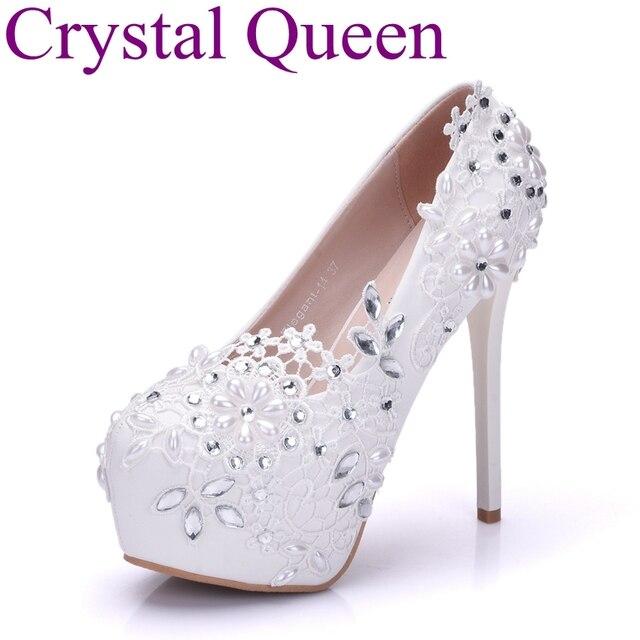 Women Metal Tassel Flower Decor Lace Chain High Heel Platform Wedding Shoes Pump
