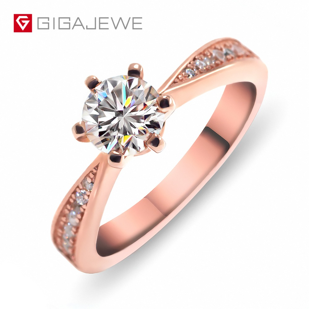 GIGAJEWE 1ct 6 5mm EF VVS1 Round Cut Moissanite 925 Silver Ring Woman Girlfriend Gift
