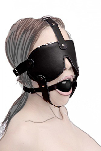 Ball Mouth Gag ,Leather Head Harness Mouth Mask BDSM Bondage Restraint Mouth Gag Muzzle,Adult Sex Toys 3