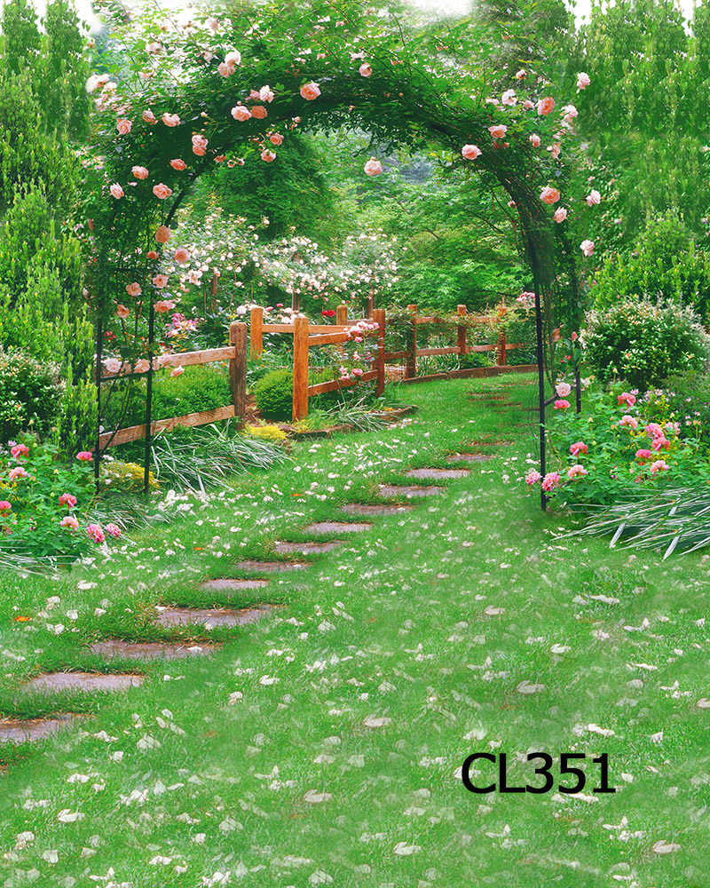 LB Garden Green Vines And Flowers Arch Road Wooden Fence Vinyl Backdrops Background For Photography Studio Backdrop Photo Props