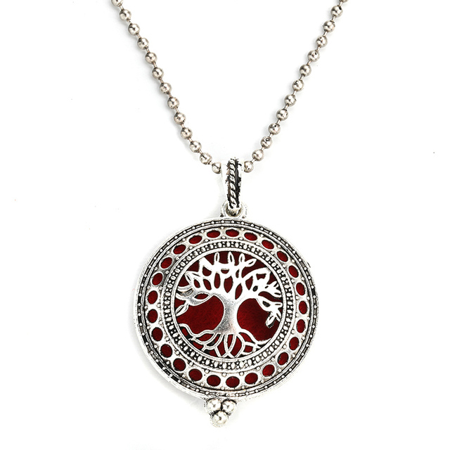 Aromatherapy Diffuser Silver Pendant Necklace
