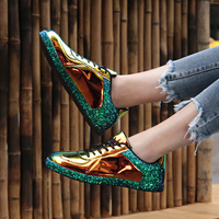 CNFIIA Fashion Ladies Shoes Golden Shoes Women Sneakers Casual Black White Female Shoes Footwear Size 36 41 Walking 2019 New