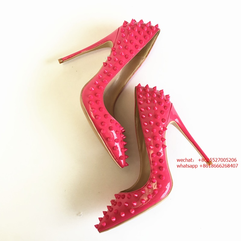 Discount Rivets Pointed toe Thin High Heels Sexy Red Leather Dress Pumps Women Rivets Gladiator Shoes 10cm 12cm Stiletto Heels big size 40 41 42 women pumps 11 cm thin heels fashion beautiful pointy toe spell color sexy shoes discount sale free shipping