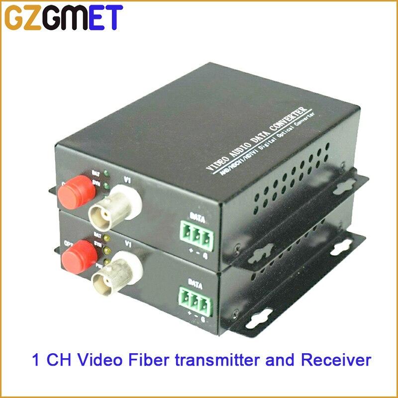 20KM 1 Channel Video Audio Data Fiber Optic Media Converter Transmitter & Receiver with Single Mode Single Fiber FC BNC