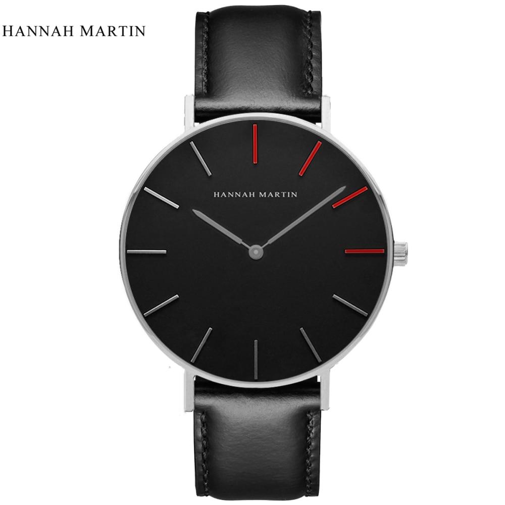 2017 New Designer HANNAH MARTIN Classical Male Men Women Ladi Top Brand Luxury Fashion Casual Quartz-watch Leather Wrist Watches 1