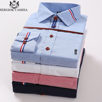 Sergio K Camisa Oxford Brand Clothing Men S Shirts Long Sleeves Solid Color Shirt Slim Fit